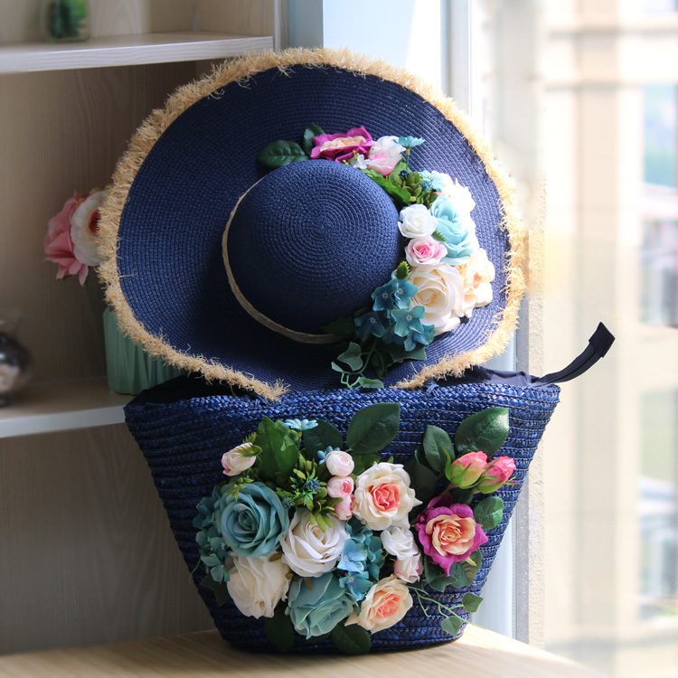 Straw Bags Shoulder Heavy Blue Bag and Hat Set Flowers Tote Travel For Beach Pearsonalized Style Plus Size Women Bag цена