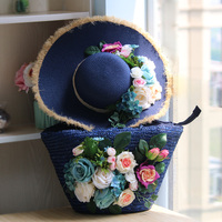 Straw Bags Shoulder Heavy Blue Bag and Hat Set Flowers Tote Travel For Beach Pearsonalized Style Plus Size Women Bag