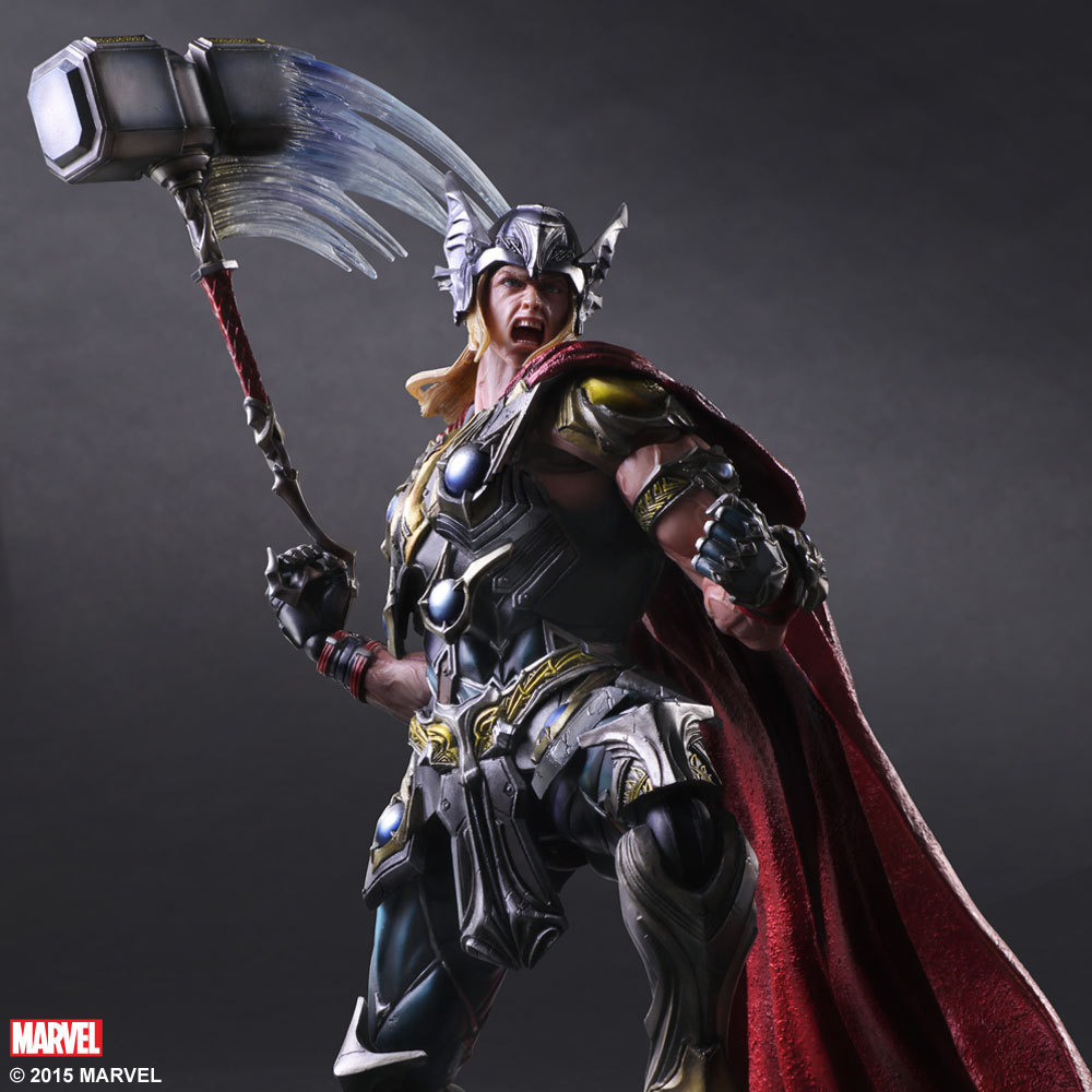 Play Arts PA Marvel Super Hero Thor Action Figure Toy Doll Collection 25cm funko pop marvel loki 36 bobble head wacky wobbler pvc action figure collection toy doll 12cm fkg120