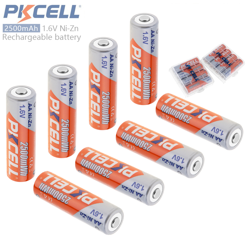 8pcs PKCELL 2500mWh 1.6V NiZn Ni-Zn AA Rechargeable <font><b>Battery</b></font> with Over-current Protection + 2pcs <font><b>Battery</b></font> Storage Box Case Holder