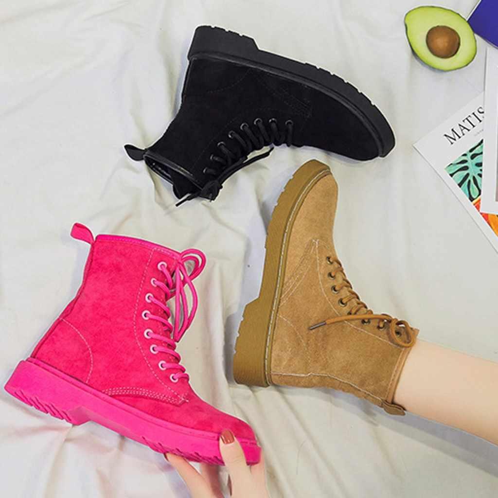 Yarım çizmeler kadınlar için Dantel Up Marten Boot Kış Yumuşak Ayakkabı süet çizmeler kadın botines mujer 2019 invierno 7 #3.5