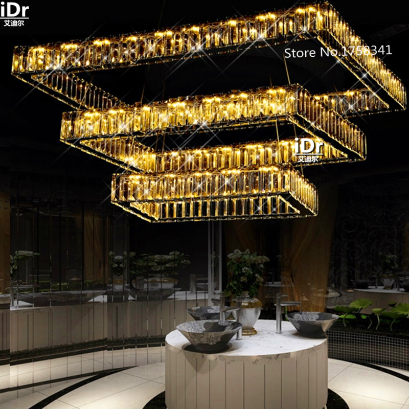 Contemporary Living room chandeliers Upscale atmosphere led lamp restaurant Villa crystal chandelier hanging rectangular lights