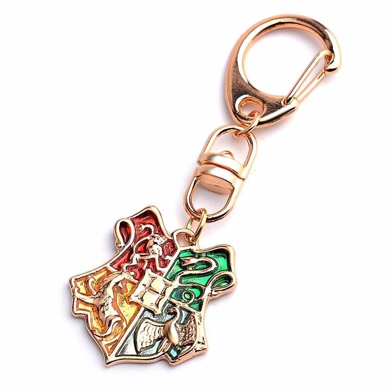 Trendy Harry Hogwarts magic School Badge Keychain wholesale Mix Colors Movie School badge Keyring Fans Key Chain jewelry Gift