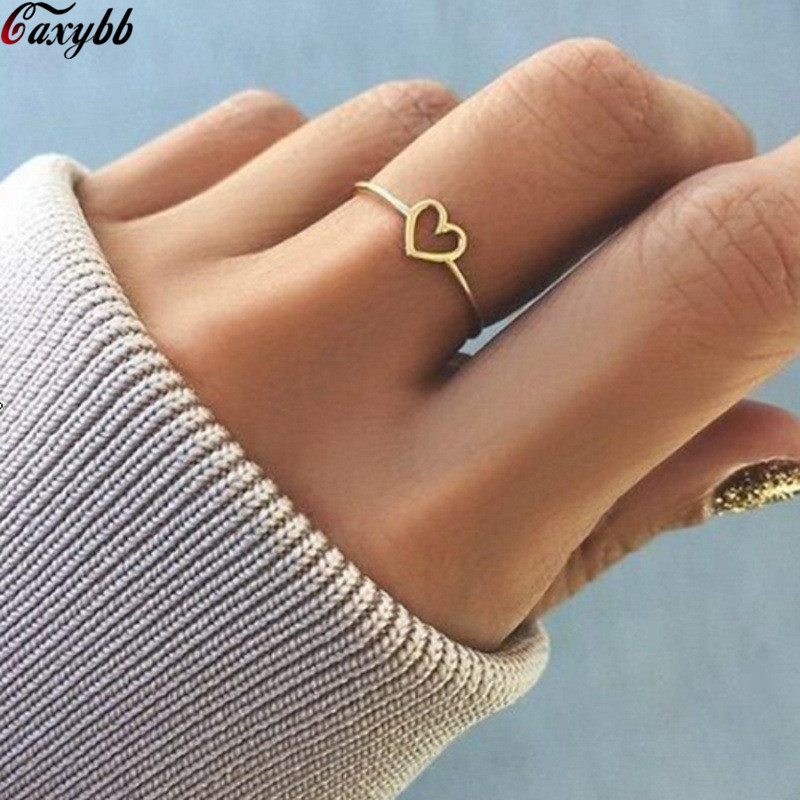 Women Rings Jewelry Wedding-Ring Heart-Shaped Rose-Gold-Color Hollow Female New-Fashion