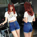 2017 Summer High Waisted Plus size 4XL XXXXL Womens Breasted Shorts Jeans Female Retro Slim Flanging Loose Casual Denim Shorts