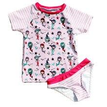 Funfeliz Short Sleeve Swimwear for Girl Two Pieces Swimming Suit Girls Cute Cartoon Kids Children Bathing 1-6Y