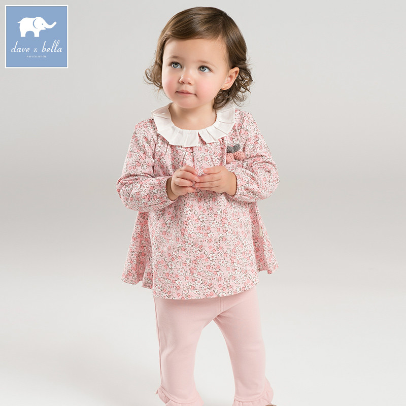 DB7366 dave bella spring baby girls clothing sets kids pink floral suit children toddler outfits high quality clothes pink and red children sets baby girls