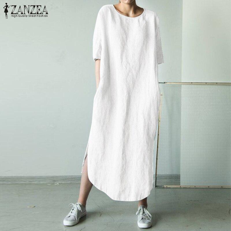1070.88руб. 40% СКИДКА|Женское платье рубашка ZANZEA, длинное Повседневное платье из хлопка и льна с о вырезом и коротким рукавом, 2019|Платья| |  - AliExpress
