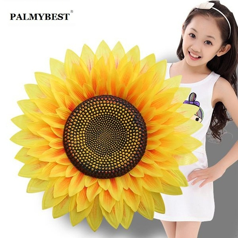 Big size artificial silk sunflower yellow polyester flower for Home Decorative & dance props Performing props