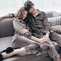 GO FURTHER 2017 Winter Couple Pajamas Women S Spring Autumn Long SleeveS Velvet Fabric Men S