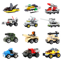 Creative Educational Building Blocks Toys For Children Military Tank Vehicle Car Series Compatible With Legoing Small Bricks(China)