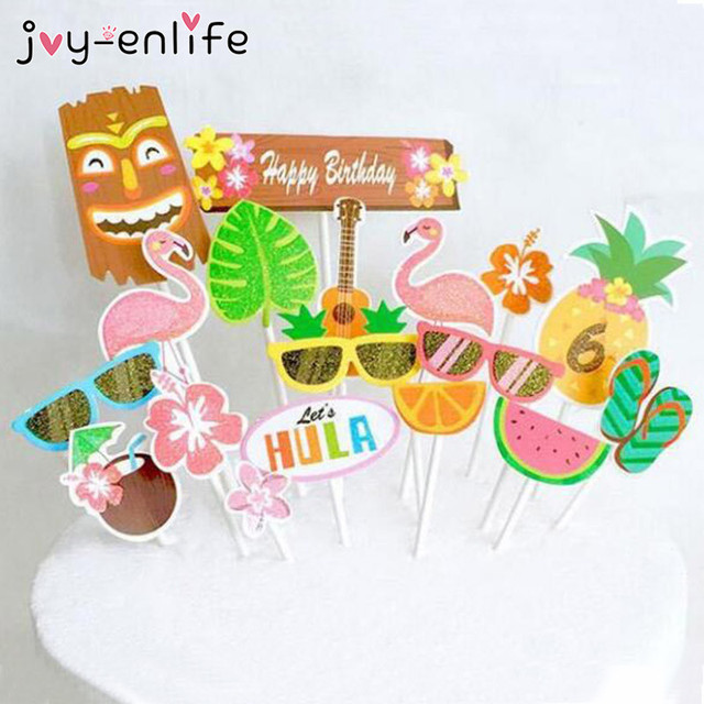 Joy Enlife 1set Flamingos Pineapple Cake Topper Decor Birthday Party