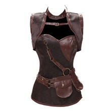 Trendy Gothic Clothing Sexy Brown Steel Boned Corset Steampunk with Jacket and Belt Overbust For Women S-6XL
