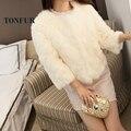 100% Pure Rabbit Fur Coat Women Real Rabbit Fur Jacket Three Quarter Waistcoat Genuine Fur Fashion DFP933