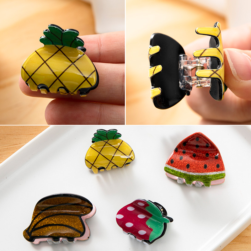 New Women Girls Cute Cartoon Fruit Pineapple Watermelon Strawberry Hair Claws Hairpins Hair Clips Barrettes Hair Accessories