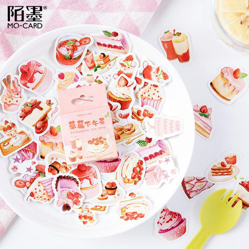 46 Pieces / Bag Cute Strawberry Afternoon Tea Stickers Decorative Paper Stickers Diy Manual Diary Stationery Clip Art Album Seal