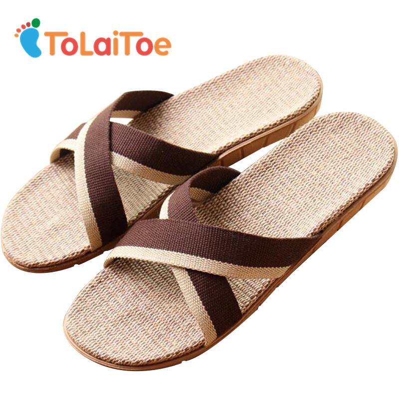 ToLaiToe Couples New Linen Home Slipper Men's Striped Brown&Beige Floor Shoes Women Summer Cool Silent Sweat EVA Slippers men s and women s bathroom slippers summer bathhouse slippers eva hotel slippery wear resisting couples cross belt slipper