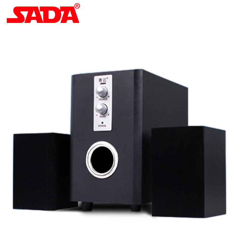 SADA D-200T Wood Surround Desktop Multi Media Subwoofer Stereo Heavy Bass PC Computer USB Wooden Speaker Speakers for Smartphone