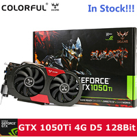 Original Colorful IGame 1050Ti Graphics Card NVIDIA 128bit 4GB DDR5 6Pin Computer Hardware W/ Cooler Fan DVI+ HDMI+DP Metal Back