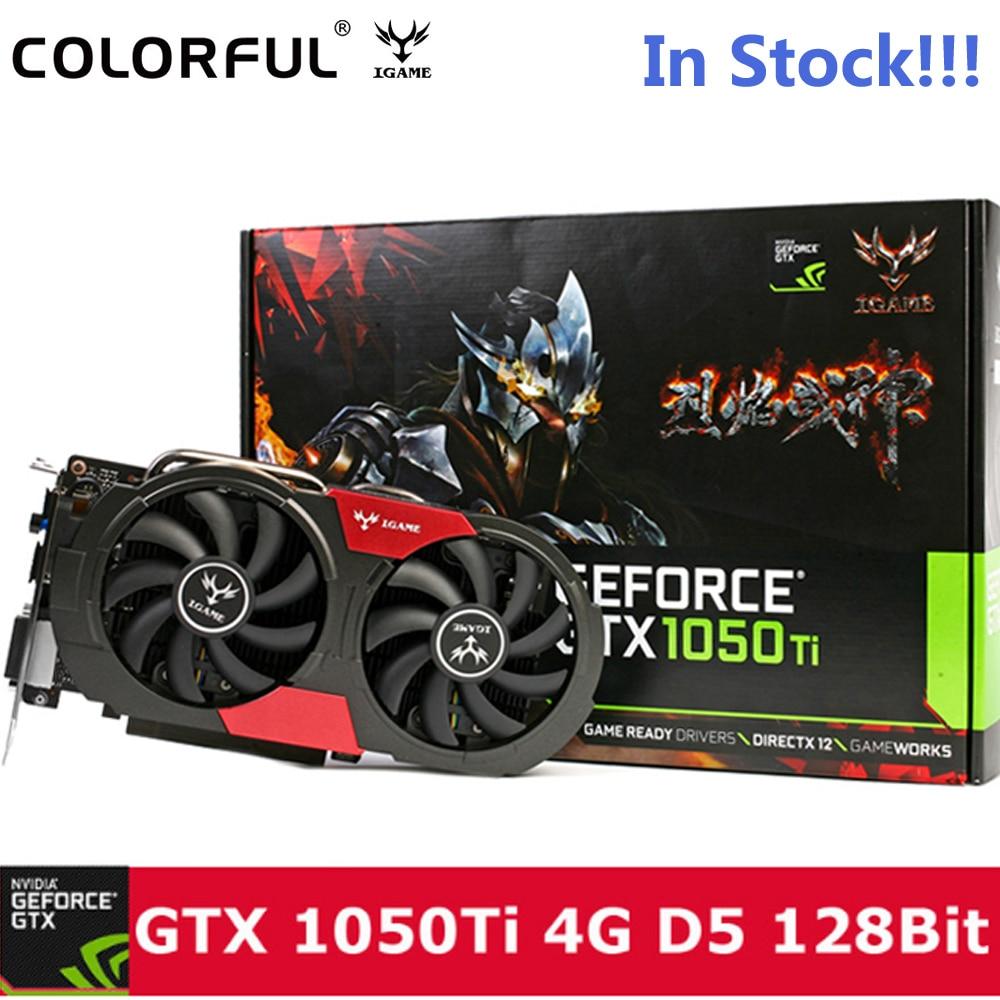 Originale Colorful IGame 1050Ti Scheda grafica NVIDIA 128bit 4 gb DDR5 6Pin Computer Ferramenteria e attrezzi W/dispositivo di Raffreddamento del Ventilatore DVI + HDMI + DP Posteriore del Metallo