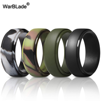 WarBLade New Food Grade FDA Silicone Rings Men Wedding Rubber Bands Hypoallergenic Flexible Antibacterial Silicone Finger Ring 4