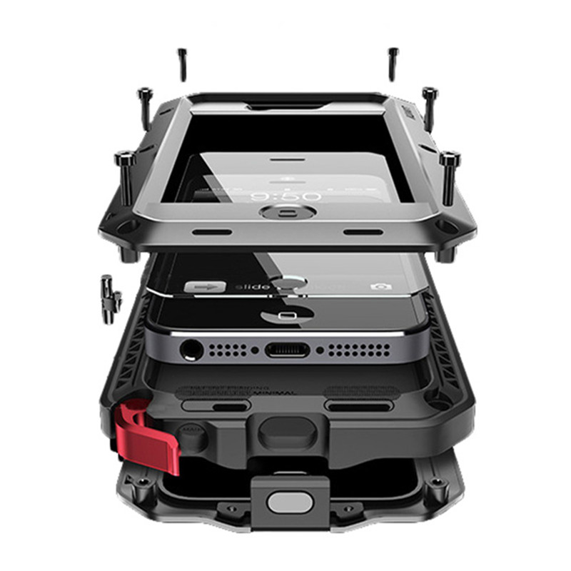 Luxury Doom Armor Shock Dropproof Rain Waterproof Metal Case For IPhone 4S 4 With Gorilla Glass