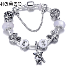 HOMOD New Fashion Mickey Minnie Charm Bracelet Cute Crystal Brand For Women Lovers Pulseras Mujer 2019