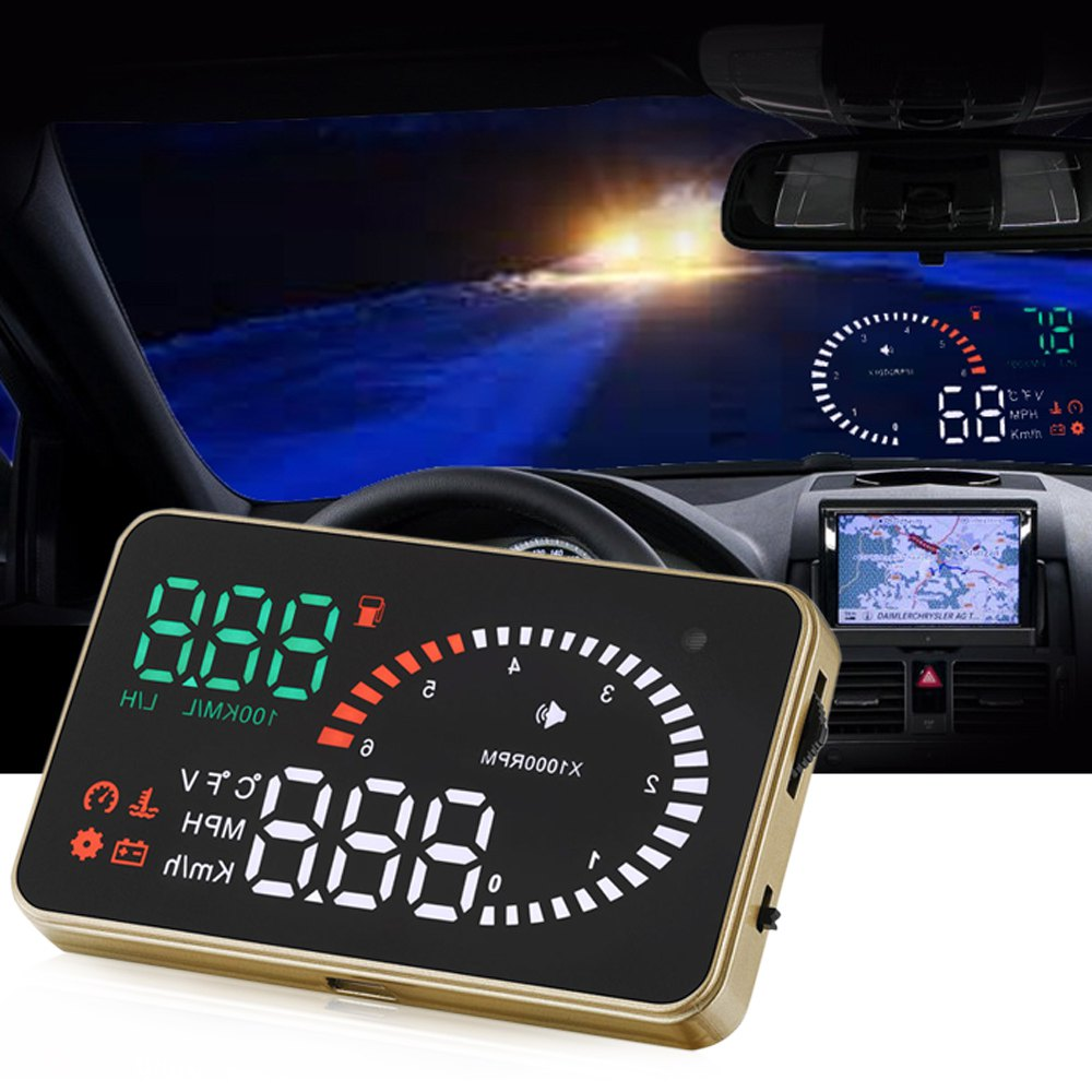 X6 3 Inch Car HUD Head Up Display with Engine Speed Alarm Car Styling Speed Warning System 12V OBD II OBD2 Interface