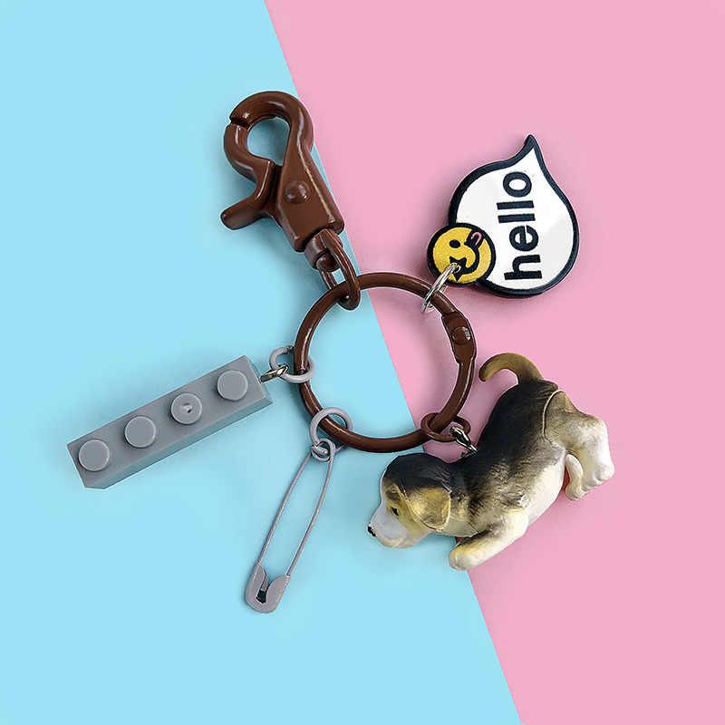 Adorável Animal da Resina Pet Cães Schnauzer Corgi Galês do Anel Chave Chaveiros Chave da Cadeia de Jóias de Presente Para A Mulher Para O Amante Do Cão