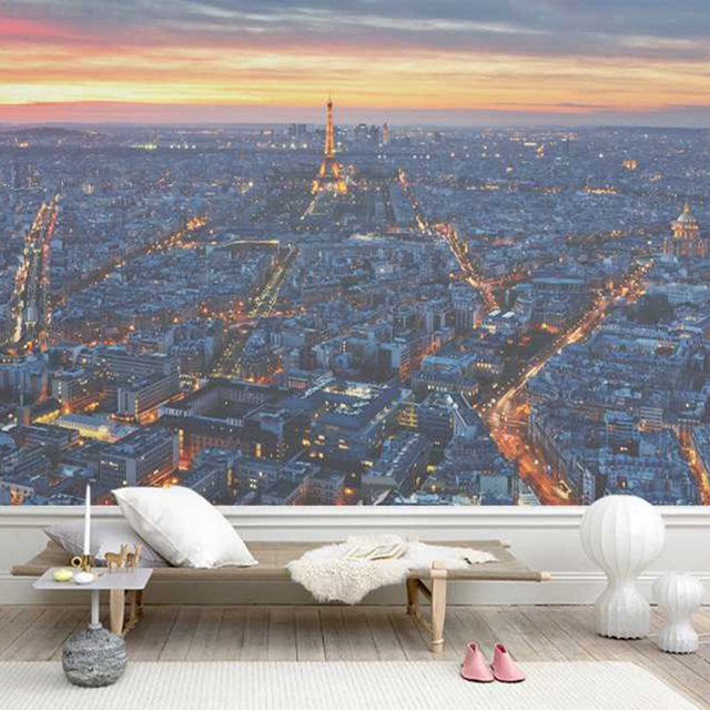 paris sunset and Eiffel Tower Wall Mural Photowall paris wallpaper