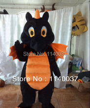 mascot Adult Size Orange And Black Dragon Mascot Costume Cute Black And Orange Dragon Mascotte Outfit Suit  FREE SHIPPING
