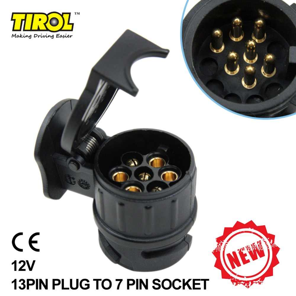 tiro 13 to 7 pin trailer adapter black frosted materials trailer wiring connector 12v towbar towing [ 1000 x 1000 Pixel ]
