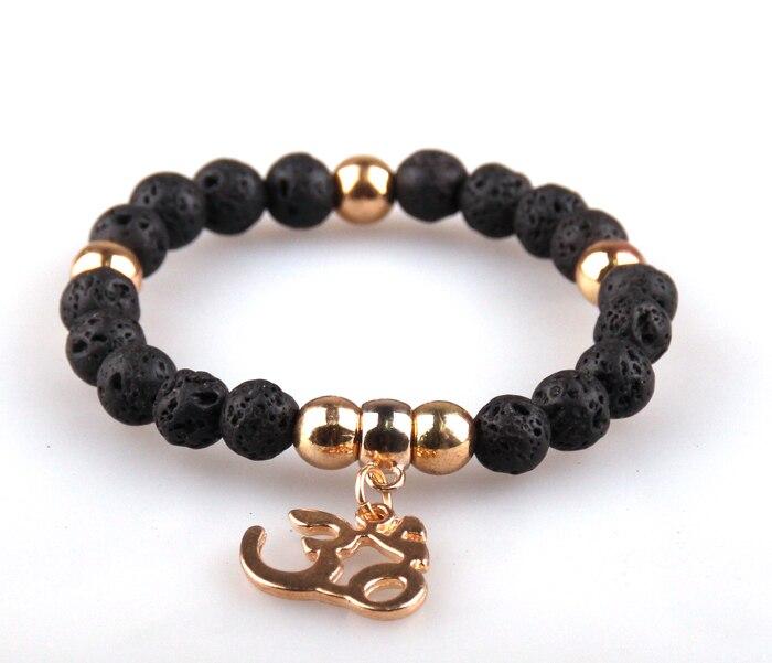Free Shipping Fashion 8mm natual semi precious stone lava bracelet with OM pendant charm women or men metal Bracelets