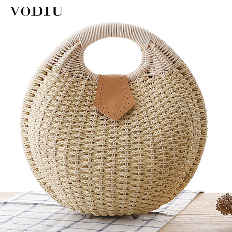 Summer Beach Bag Straw Bag Shell Shaped For Ladies Women's Fashion Handbags Handmade Bohemian Bali Rattan Handbags Women Purse
