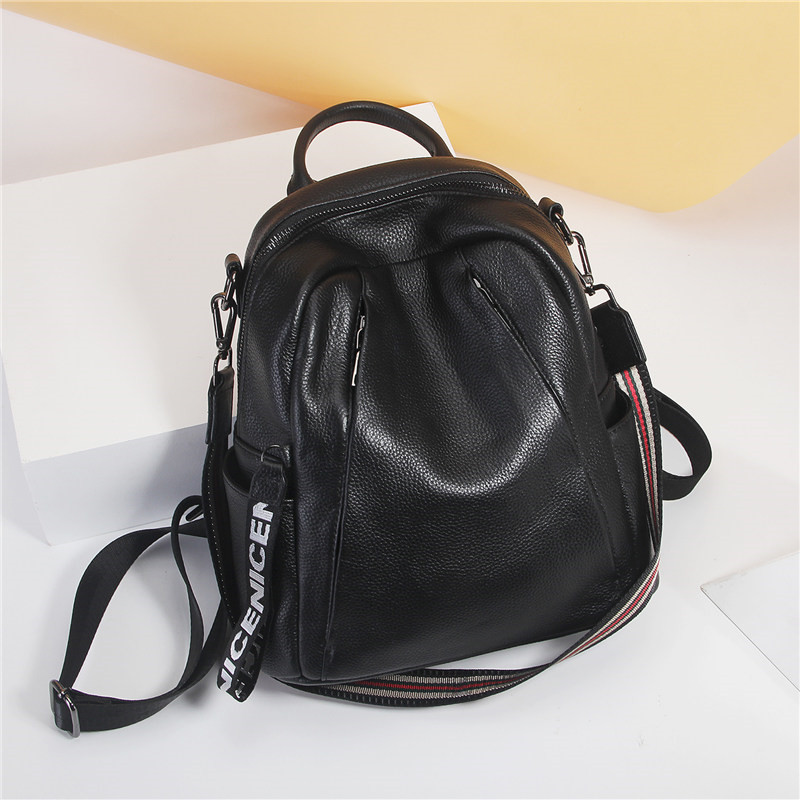 Nesitu High Quality New Fashion Black Genuine Leather Small Women Backpack Female Girl Lady Travel Bag