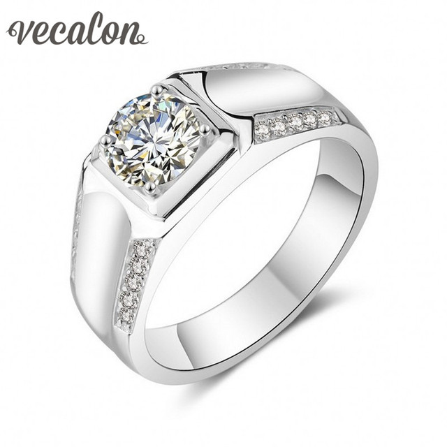 Vecalon Valentine's Day Fine Jewelry Men wedding Band ring 1.5ct Simulated diamond Cz 925 Sterling Silver Engagement Finger ring