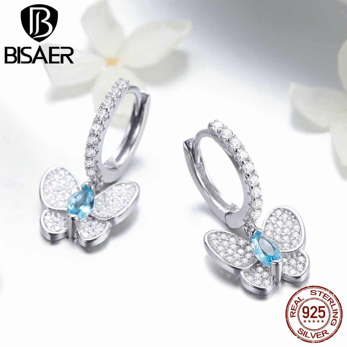 BISAER 100% 925 Sterling Silver Crystal Butterfly Stud Earrings for Women  Clear Cubic Zircon Fashion 03634f80c856