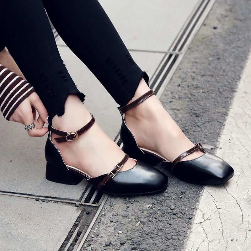 Bureau apricot Sandales Carré Footwears Solide Bout Femmes Talons noir D'été Couleur Chaussures Beige Med Dames Quotidienne V104 WUanR8xwqR