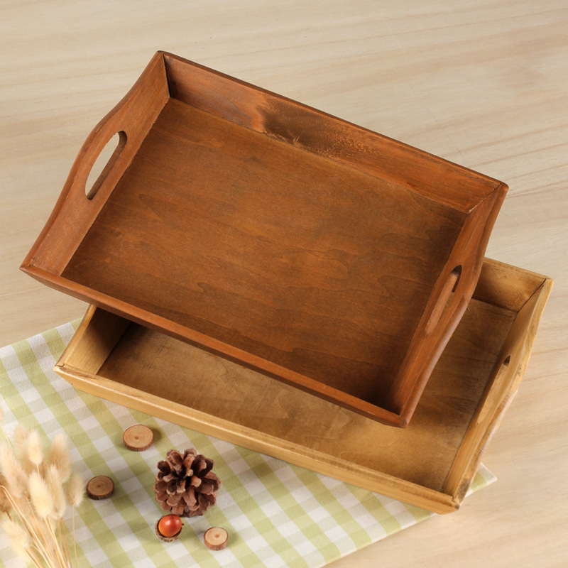 Japanese Zakka manual Wood Tea Tray grocery square real wood fruit hotel restaurant serving storage box Dinner Snack Plate