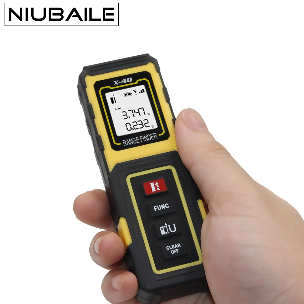 NIUBAILE 40M Laser Rangefinder Mini Digital Handheld Laser Distance Meter Range Finder Measuring Tape DiastimeTrena131ft X40-Y лазерный дальномер mini desktop laser tracing measuring tape
