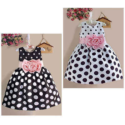 Hot  Baby Girl Summer Wedding Flower Polka Dot Party Costume Suit 2-7T