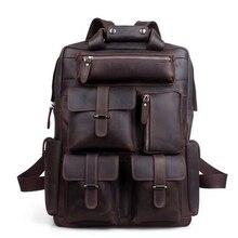 TOP POWER Men Backpack Vintage Business Crazy Horse Brand Genuine Leather Large Capacity Multifunctional Travel Satchel Bags