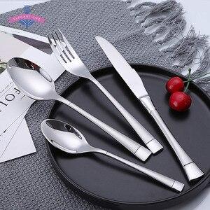 "Image 2 - 24 PCS סכו""ם סט סכו""ם סט נירוסטה מט סכין מזלג כף שולחן סט משפחה לאור נרות ארוחת ערב אריזת מתנה"