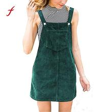 Women Dress Corduroy Straight Suspender Mini Bib Overall Pinafore Casual solid Pocket Dress 2019 NEW arrival dresses summer