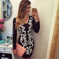 Top Quality Newest Long Sleeve Black White Print Tight Bandage Dress Fashion Bodycon Dress AA 240