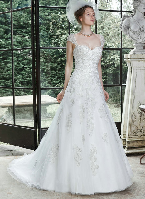 Princess Cut Wedding Dresses Detachable Cap Sleeve Wedding Dresses
