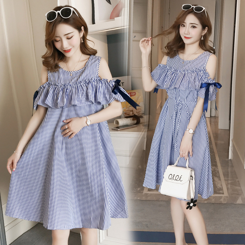 5c2dd00544132 2018 summer new Korean version of the maternity strapless dresses mother  fashion shirt pregnant women dress