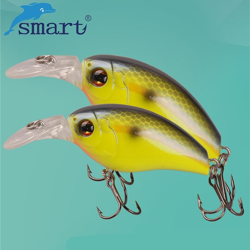 SMART Crankbait Fishing Lure 48mm 8.2g Floating0.2m VMC Hook Floating(0.6m)Carp Crank Baits Isca Para Pesca Leurre Souple stylish off the shoulder lemon print girl s mini dress