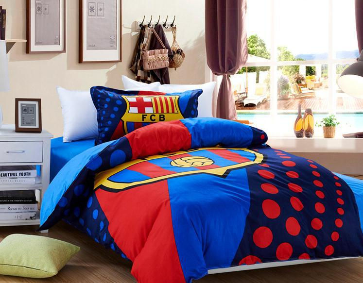 hot selling 100 cotton luxury barcelona bedding set blue quilt cover flat sheet and pillowcases designer barcelona bedroom