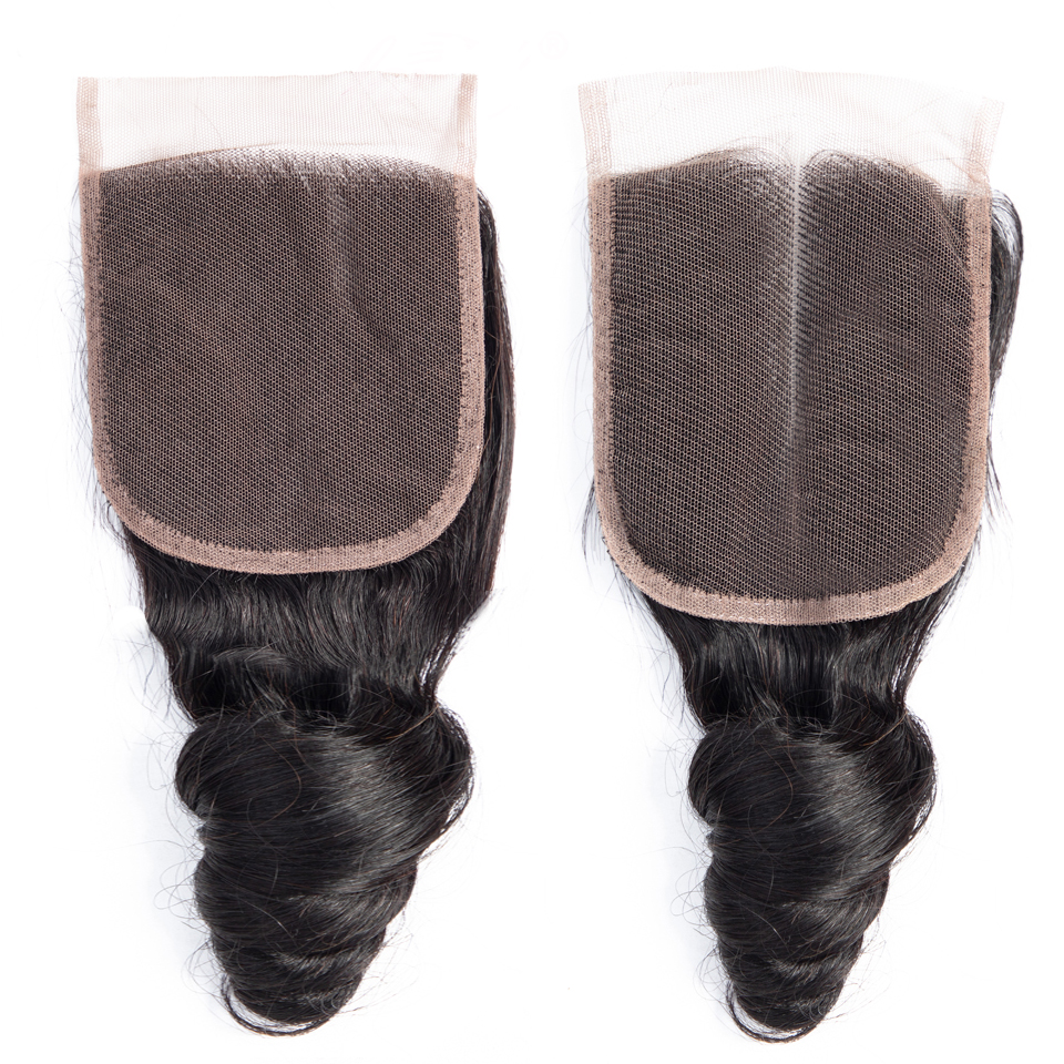 Brazilian Hair Closure Loose Wave Closure Free Middle Three Part Non Remy 100% Human Hair Weaving 4x4 Swiss Lace Top Closure